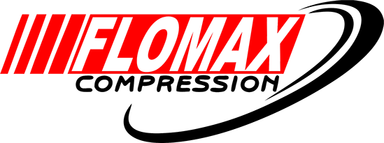Flomax Compression Ltd Logo Red and Black on white background